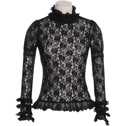 Gothic Long Sleeve Floral Lace Shirt