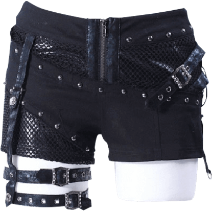 Gothic Studded Thigh Belt Shorts