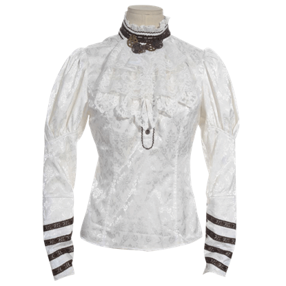 Steampunk Long Sleeve Jacquard Blouse