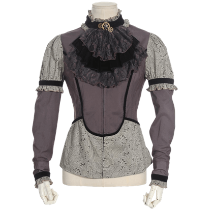 Steampunk Long Sleeve Grey Jabot Shirt