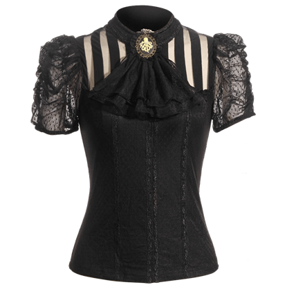 Steampunk Short Sleeve Striped Top