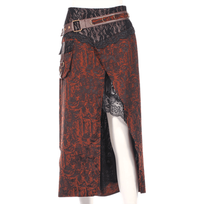 Asymmetrical Lace Underlay Steampunk Skirt