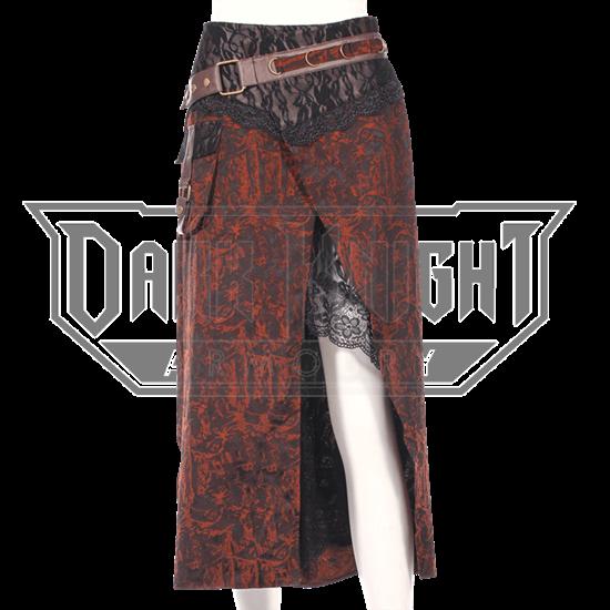Asymmetrical Lace Underlay Steampunk Skirt