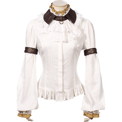 Steampunk Cuffed Sleeve Jabot Blouse