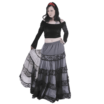 Black Lace Accented Long Skirt