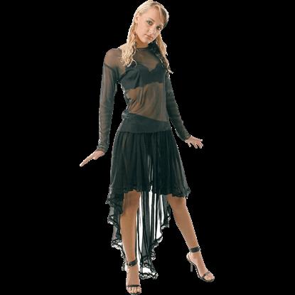 Black Net Fishtail Skirt