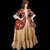 Gold and Burgundy Baroque Antoinette Dress