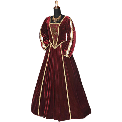 Red and Gold Tudor Dress