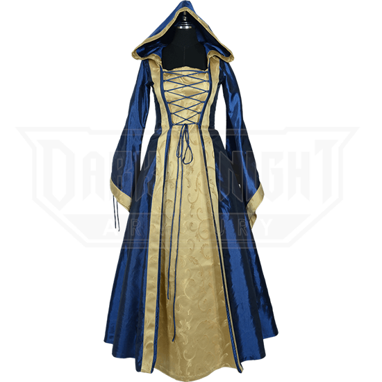 079872ed9d7 Hooded Renaissance Sorceress Gown - Blue and Gold