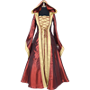 Hooded Renaissance Sorceress Gown - Burgundy and Gold