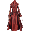 Hooded Renaissance Sorceress Gown - Burgundy