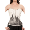 White & Black Distressed Overbust Corset