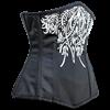 Black Satin Embroidered Underbust Corset