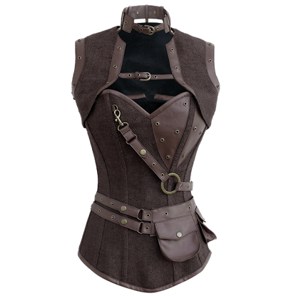 Steampunk Jute Overbust Corset with Detachable Belt & Jacket