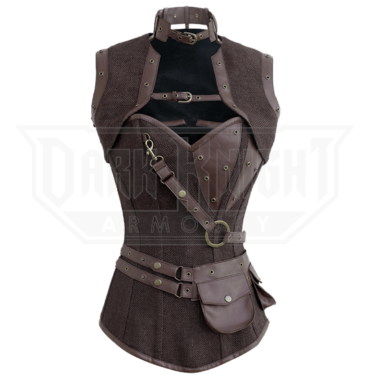 Steampunk Jute Overbust Corset with Detachable Belt & Jacket