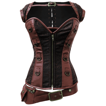 Steampunk Corset with Detachable Belt & Jacket in Ecstasy Pattern
