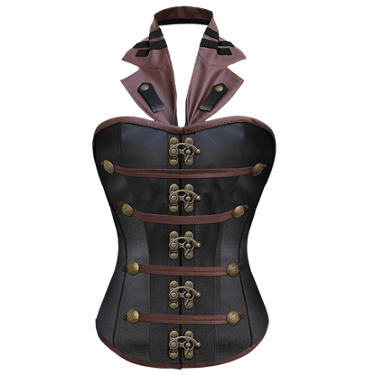 Satin & Brown Faux Leather Steampunk Corset