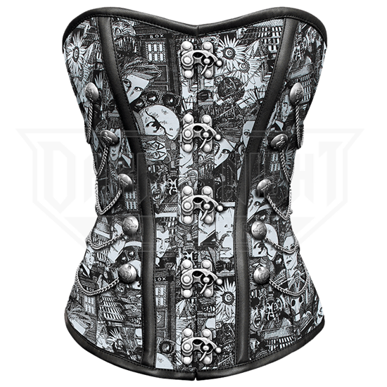 Doctor Who Print Cotton Overbust Corset with Clasps