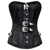 Black Double-Buckled Brocade Overbust Corset