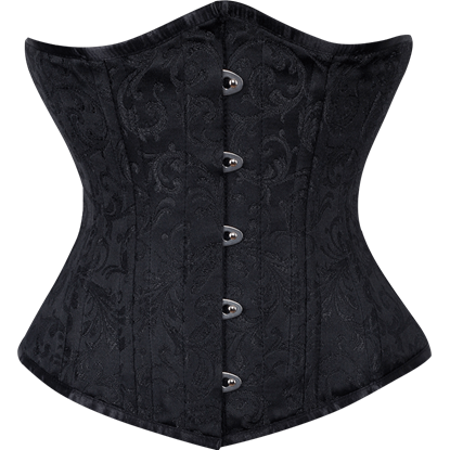 Black Brocade Waist Training Underbust Corset