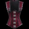 Gothic Red Brocade Shoulder Strap Underbust Corset