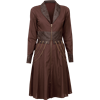 Steampunk Long Sleeved Brown Cotton Chain Dress