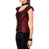 Gothic Red Brocade Short Sleeved Eyelet Top