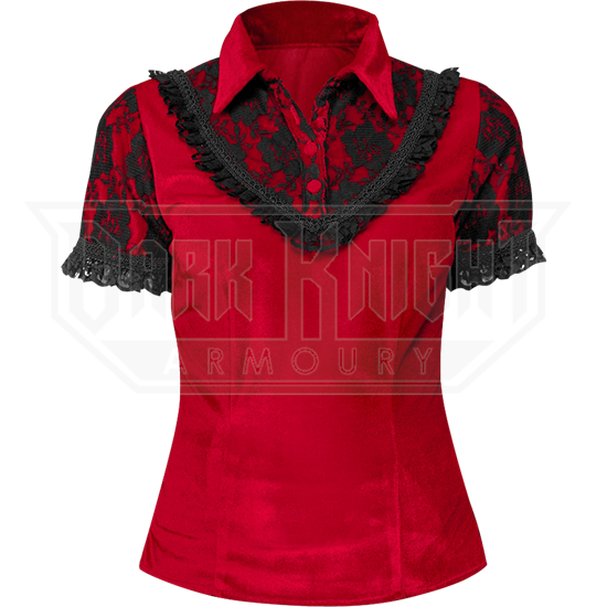 Gothic Red Velvet Lace Collar Shirt