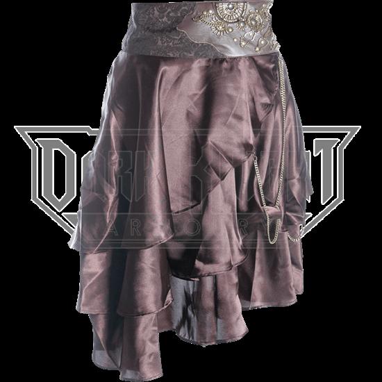 Steampunk Embroidered Waist Satin Layer Skirt
