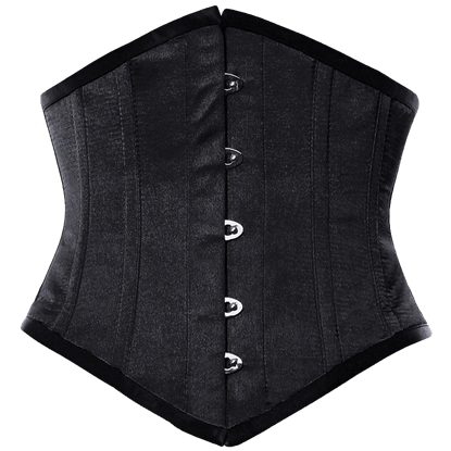 Black Satin Waist Reducing Underbust Corset