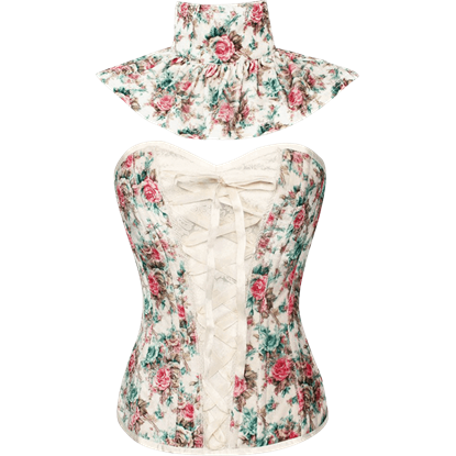 Velvet Floral Overbust Corset with Collar