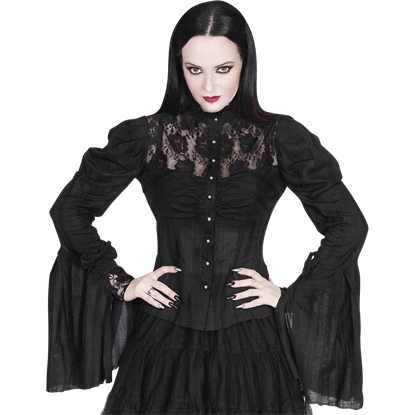 Black Lace Long Sleeve Gothic Top