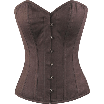 Brown Cotton Overbust Corset