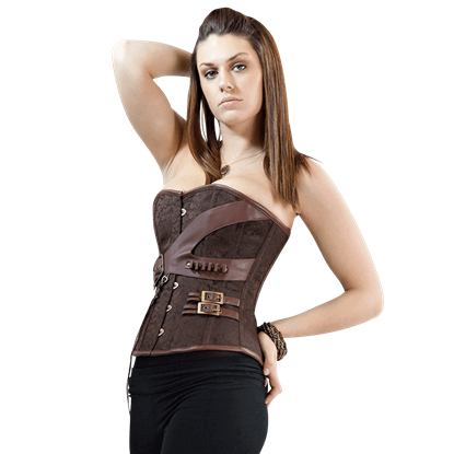 Steampunk Gunslinger's Brown Overbust Corset