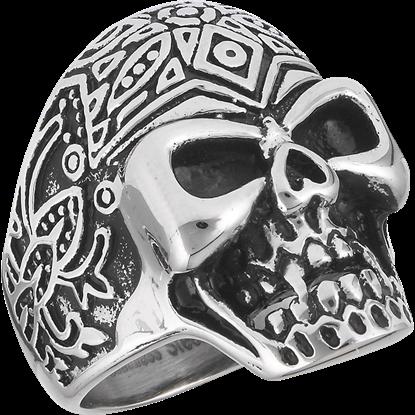 Stainless Steel Patterned Skull Ring