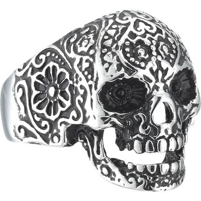 Flower Engraved Skull Ring