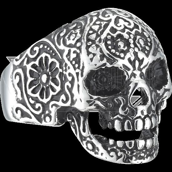 Flower Engraved Skull Ring