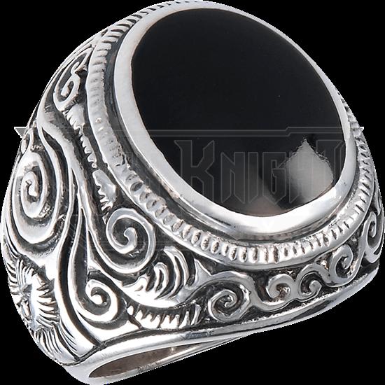 Swirled Scrollwork Onyx Ring