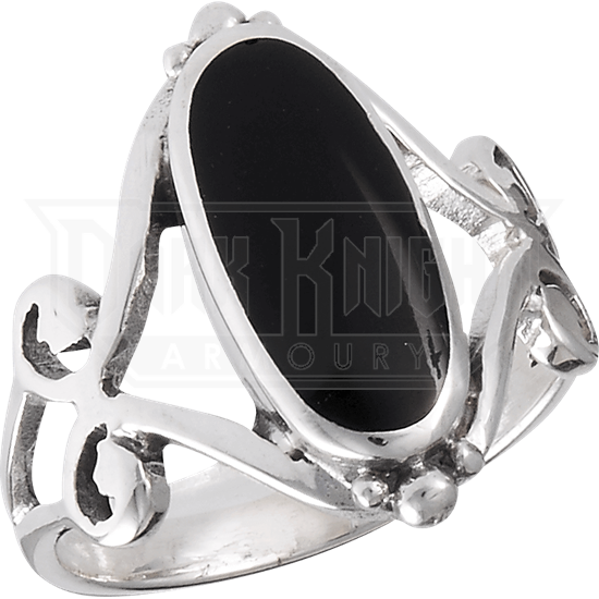 Scrolled Onyx Ring