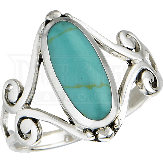 Scrolled Turquoise Ring
