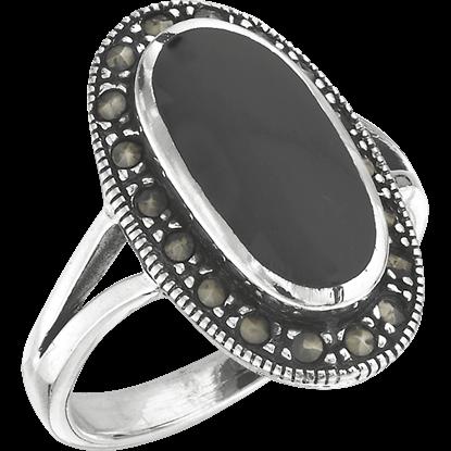 Black Onyx Marcasite Ring