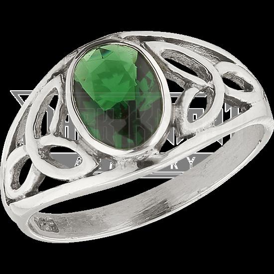 Green Gem Triquetra Ring