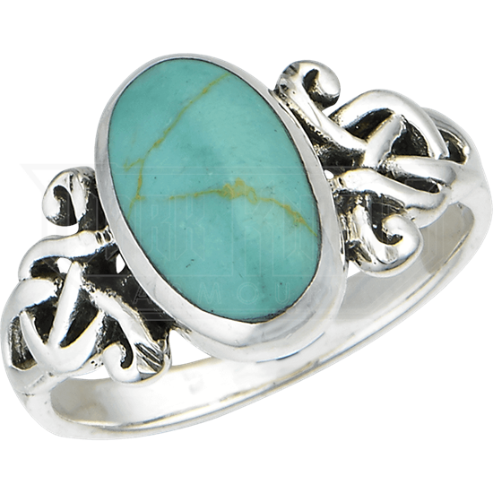 Turquoise Celtic Knotwork Ring