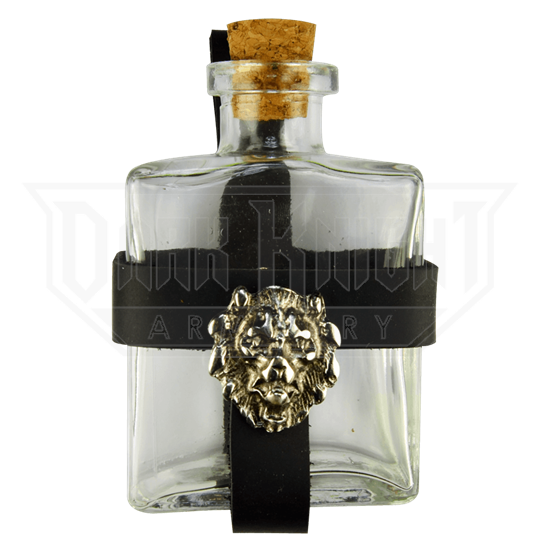 Glass Potion Bottle with Heraldic Holder
