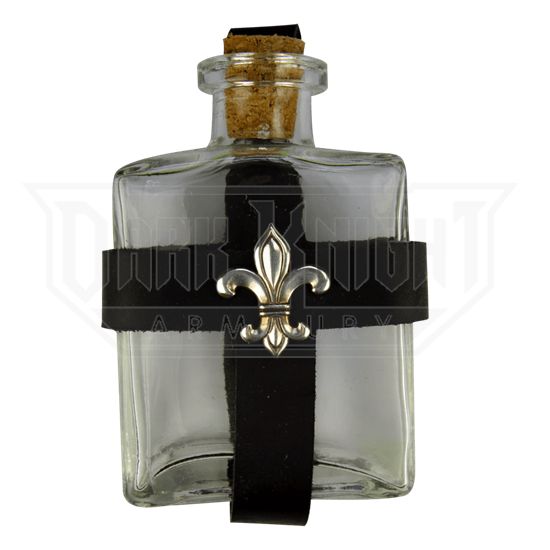 Glass Potion Bottle with Fleur De Lis Holder