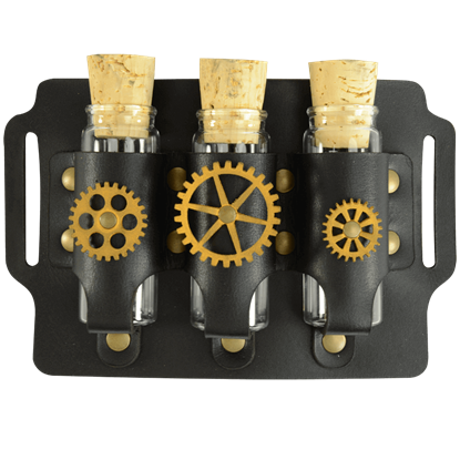 Geared Steampunk Three Bottle Holder Belt Slide