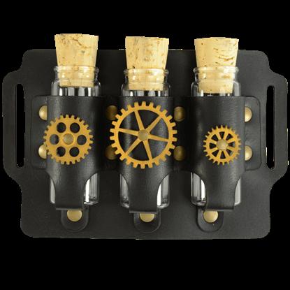 Geared Steampunk Three Bottle Holder Belt Slide