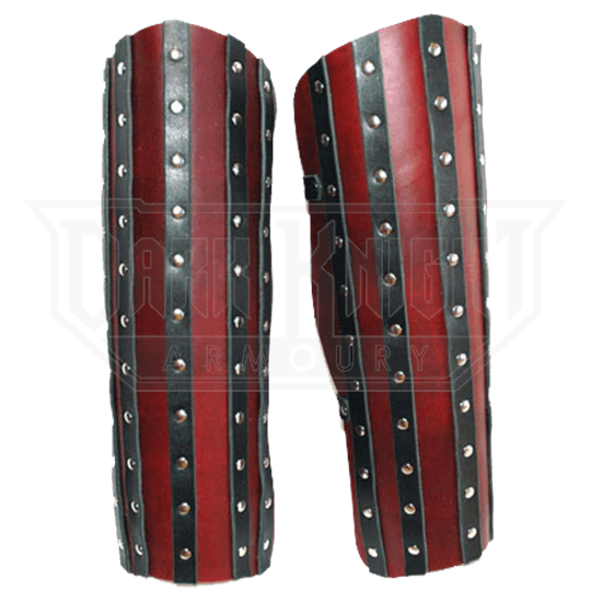 Banded Leather Greaves - 7/8 oz.
