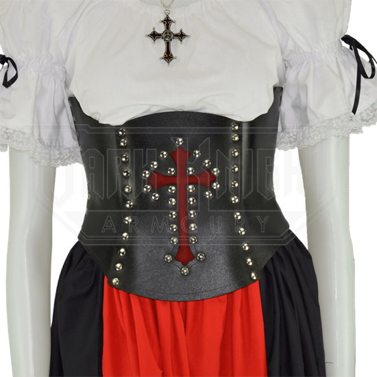 Gothic Cross Leather Under-Bust Corset