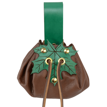 Small Round Pouch with Leaf Closure